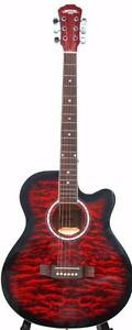 Acoustic Guitar for beginners Brand New with Soft bag, strings, 5 picks iMusic211 red 40 inch