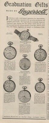 1927 Ingersoll Radiolite Pocket Watch Wristwatch Vintage Yankee Eclipse Ad