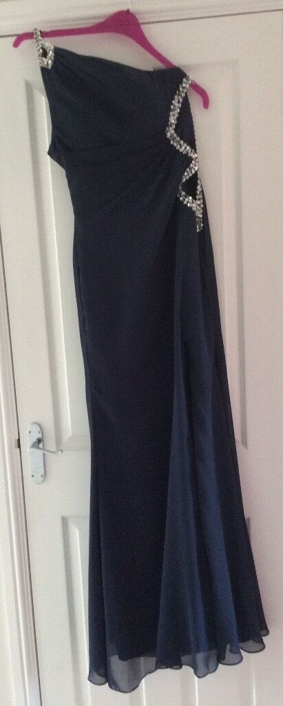 PROM DRESS French navy chiffon with silver beadingin Littleport, CambridgeshireGumtree - PROM DRESS French navy chiffon with silver beading. Full length, one shoulder. UK Size 10 Brand new, never been worn