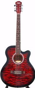 Red Acoustic Guitar Nice look for beginners with Bag, Strings, 5 picks 40 inch full size iMusic211