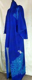 100% Silk Royal Blue Kimono with embroidered peacock