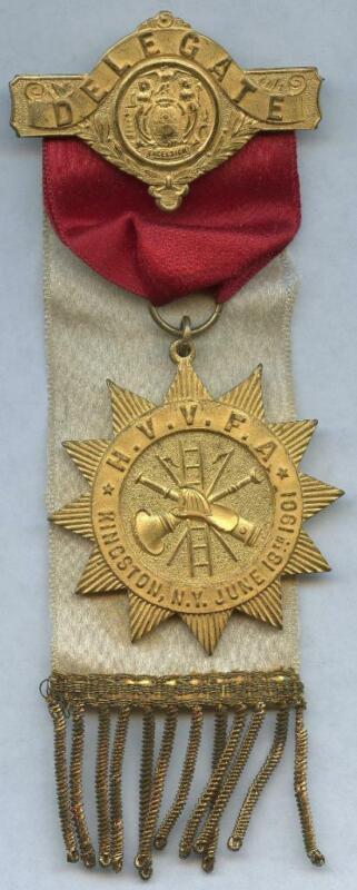 1901 Hudson Valley Volunteer Fireman Association New York Delegate Medal Ribbon