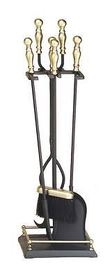 Achla Minuteman Antique Brass Plated and Black 4 - Fireplace Tool Set X820947