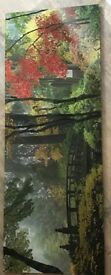 Autumn tree scene acrylic picture