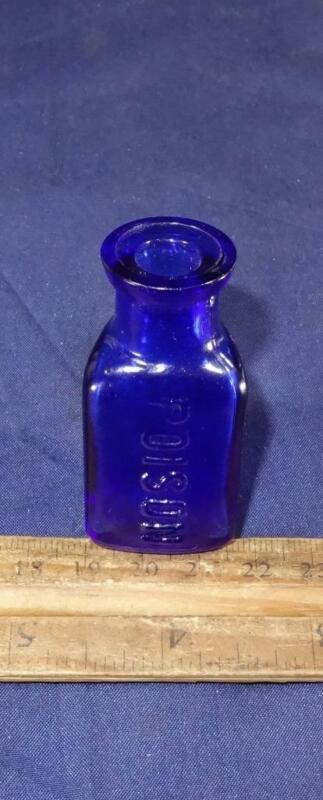 Antique THE OWL DRUG CO Cobalt Bottle POISON Mortar Pestle Triangular Shaped !
