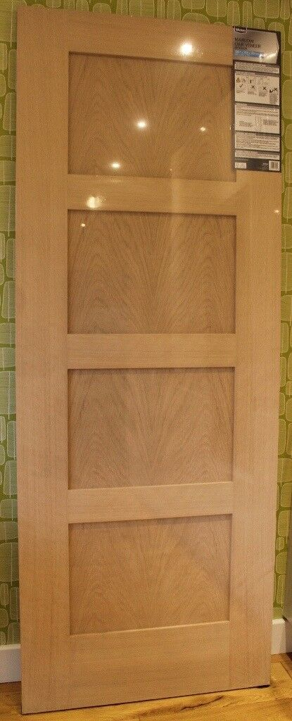 4fb7f72a6924 Wickes Marlow Oak 4 Panel Shaker Internal Door - 1981mm X 762mm - Brand New