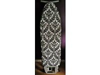 New JML Fast Fit White Ironing Board Cover with Black Fleur de Lis Regal Print.