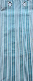 NEW Pair of Striped Curtains Duck Egg Blue Cream & Gold Cotton & Polyester Size: 64 x 90 Christmas
