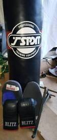 Boxing / kickboxing bag with wall bracket, gloves and glove pads