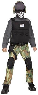 Boys Child SKULL SOLDIER Scary Army Commando - Commando Boy Child Kostüm