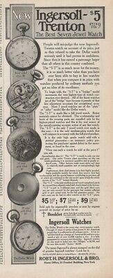 1909 Ingersoll Trenton Dollar I-T Model Pocket Watch Vintage Magazine Ad