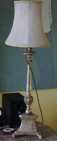 White Gold Italian Wooden Lamp In Working Condition