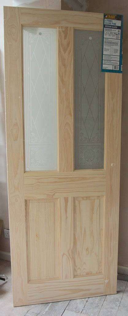4 Panel Clear Pine Door Interior Glazed 762mm 30 Inches