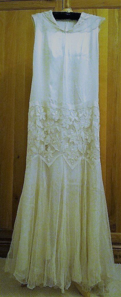VINTAGE 1920 Flapper Dress Art Deco Wedding Dress Ivory-white Long ...