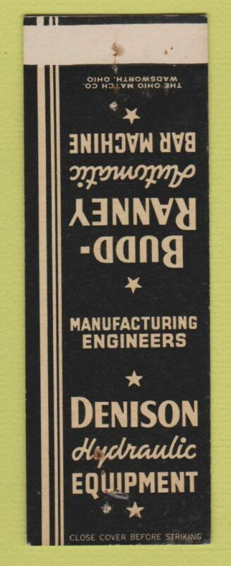 Matchbook Cover - Denison Hydraulic Equipment Columbus OH SAMPLE STAPLED WEAR