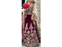 Asian Wedding Dress- Maroon/Gold in size 8-10