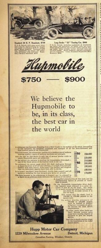 1912 Hupmobile Runabout & Touring Car Ad