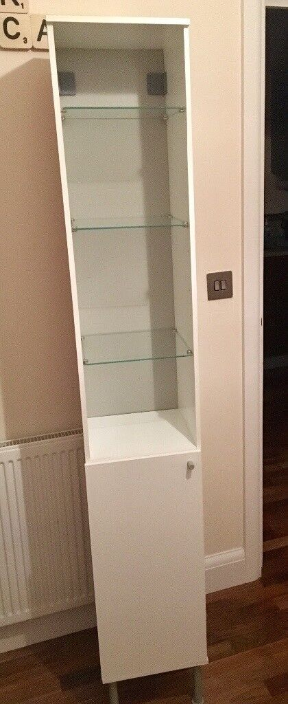 IKEA FULLEN White And Tall Bathroom Cabinet.