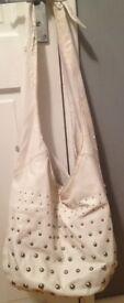 Genuine Fiorelli white studded boho bucket bag handbag tote - perfect inside, some peeling outside