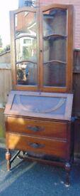 Art deco Dark oak bureau bookcase / dresser/ chest of drawers