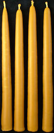"CANDLES, pure beeswax, hand dipped, 10"" tapers"