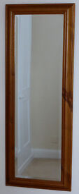 Large pine framed bevel-edged mirror