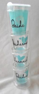 Bridesmaid Shot Glasses (Bride Shot Glass Stack Bridesmaid Bachelorette Party Wedding Shower Set of 4)