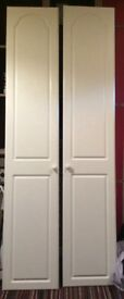 Pair of white Wardrobe doors c. 2075mm x 395mm each