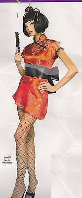 Sexy Japanische Geisha Kleid & Perücke Kostüm Size 6-12 Erwachsene - Geisha Kleid Rot Kostüm