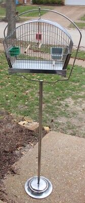Vintage Crown Bird Cage with Crown Stand