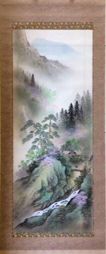 Japanese Painting Hanging Scroll Mountain Village Nature Landscape Asian Art #03