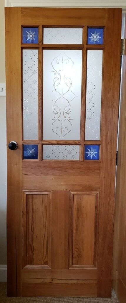 Glazed Pine Victorian Reproduction Panelled Doors With Coloured