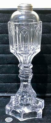 """Antique Sandwich Clear Pressed Glass """"Gothic Arch"""" Whale Oil Lamp, c. 1840"""