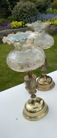 Vintage imitation oil table lamps pair