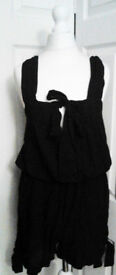 Ladies New Black Strappy Jumpsuit Summer Shorts with Side Ties.Size 20.