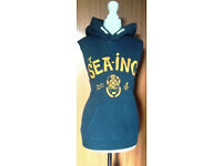 Ladies Navy Blue Sleeveless Hoodie Hoody with Yellow Sea Inc Text.Size 14.