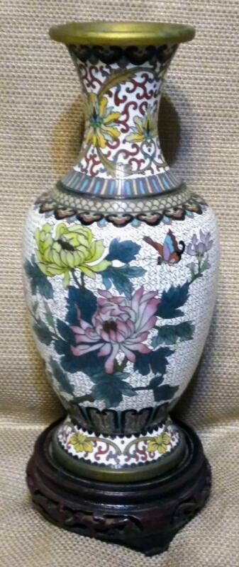 Vintage Asian Brass Cloisonne Chinese Vase Urn Chrysanthemum Flowers Birds China