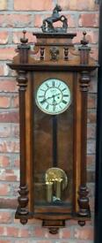 Stunning Antique Walnut Double Weighted Vienna Wall Clock by Gustav Becker.