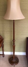 Standing Lamp 1930s Vintage With Carved Foliage With John Lewis Silk Shade With Dimmer Slide Switch