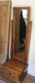 Standing mirror with drawer storage