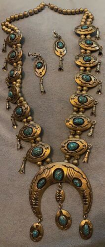 Gorgeous Navajo Jimmie Long Signd Squash Blossom Necklace No. 8 Webbed Turquoise