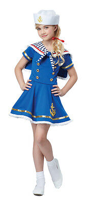 Marine Costume For Girls (Girls Blue White Sailor Dress Costume Nautical Striped Anchor Flap Ruffle Hat)