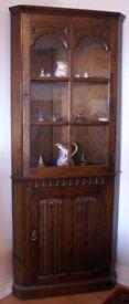 Antique Oak Corner Display Cabinet