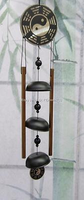 YIN YANG Feng Shui Chinese Oriental Lucky Metal Brass Bell Wind Chime 2 Rods #K