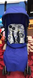 Mamas and papas blue swirl stroller with footmuff and rain cover like new
