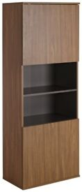 Hygena Modular 2 Door Tall Wall Cabinet - Walnut / Graphite