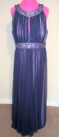 JS Boutique navy and lilac chiffon evening dress size 18
