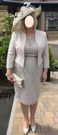 Beautiful mother of the bride dress (size 16) and matching hat in Oyster Beige