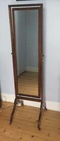 Antique Mahogany Cheval Mirror with Wheels