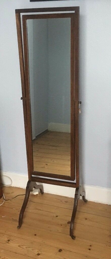 Antique Mahogany Cheval Mirror with Wheels